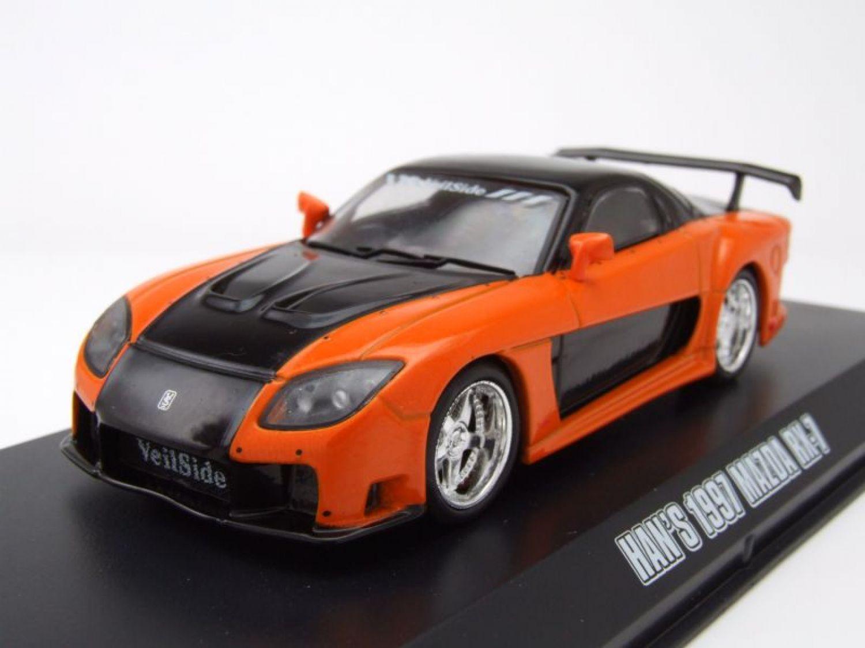 mazda rx 7 1997 orange schwarz han fast furious modellauto 1 43 greenlight ebay. Black Bedroom Furniture Sets. Home Design Ideas