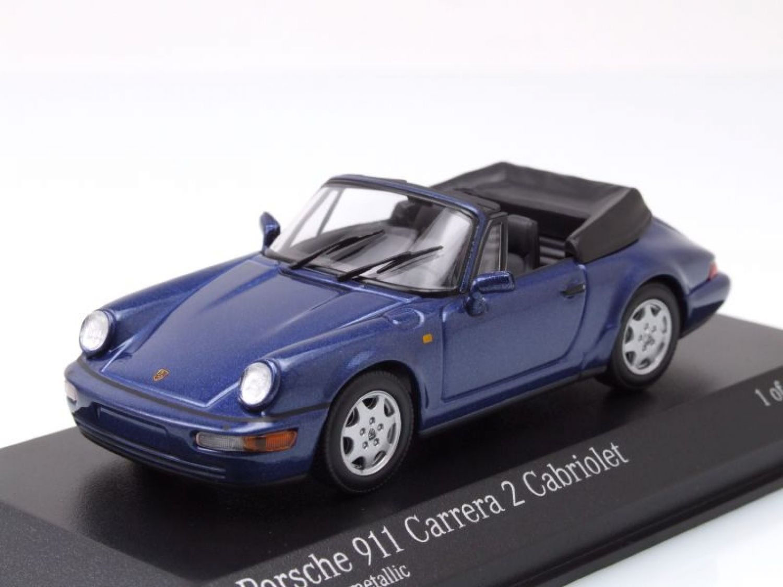 PORSCHE 911 (964) Carrera 2 Cabrio 1990 azul, Coche Modelo 1:43 ...