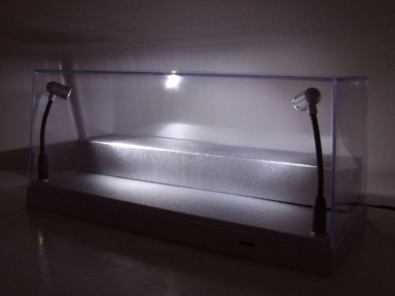Scatola trasparente vetrina con illuminazione led argento 1:43 o 1