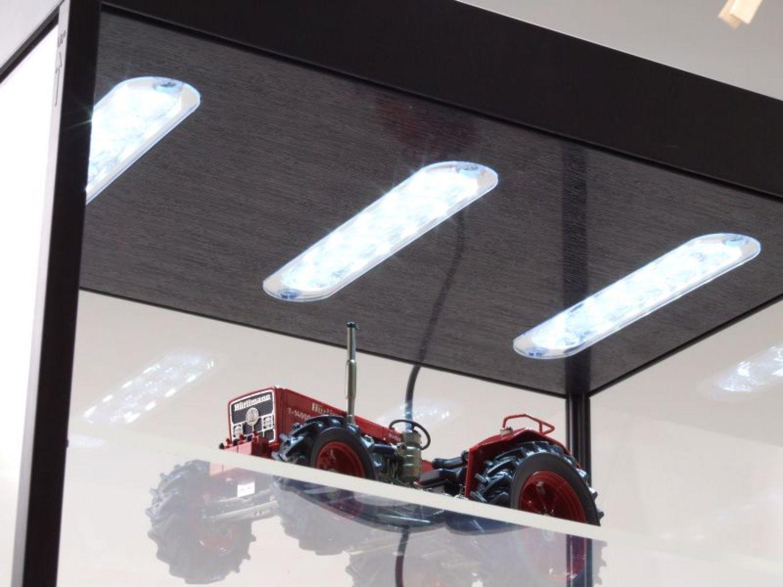Vetrina con illuminazione led nero per modellini auto lampade