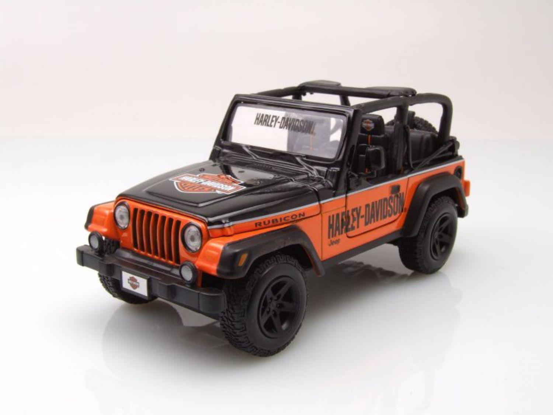 jeep wrangler rubicon harley davidson orange noir mod le de voiture 1 27 1 24 ebay. Black Bedroom Furniture Sets. Home Design Ideas