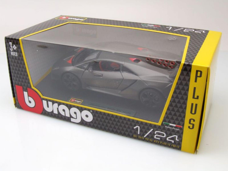 Modellauto 1:24 Lamborghini Sesto Elemento 2012 matt grau metallic Burago