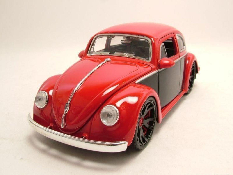 vw k fer 1959 rot schwarz modellauto 1 24 jada toys ebay. Black Bedroom Furniture Sets. Home Design Ideas