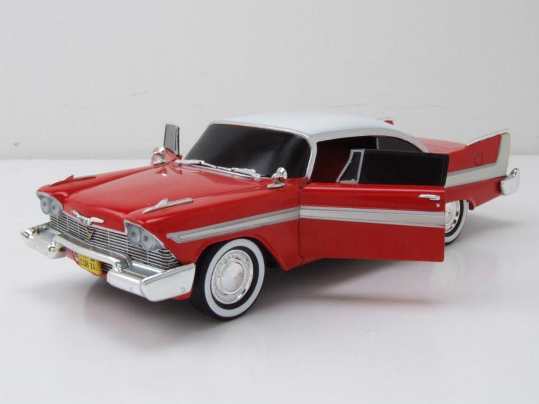 Plymouth Fury 1958 Christine rot weiß dunkle Scheiben Modellauto 1:24 Greenlight