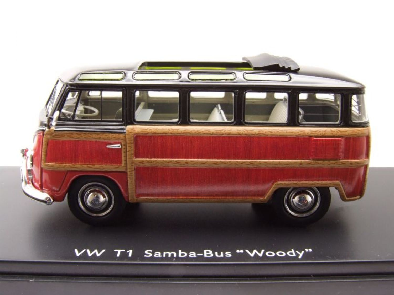 vw t1 samba bus woody schwarz braun holzoptik modellauto. Black Bedroom Furniture Sets. Home Design Ideas