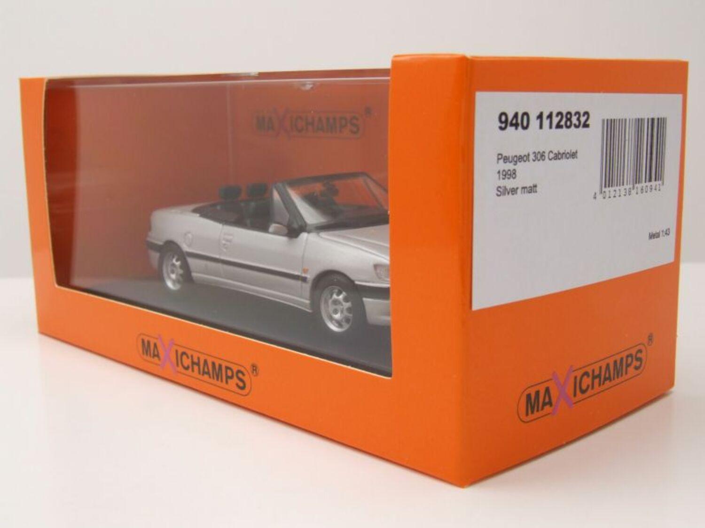 Peugeot 306 Cabrio 1998 silber Modellauto 1:43 Maxichamps