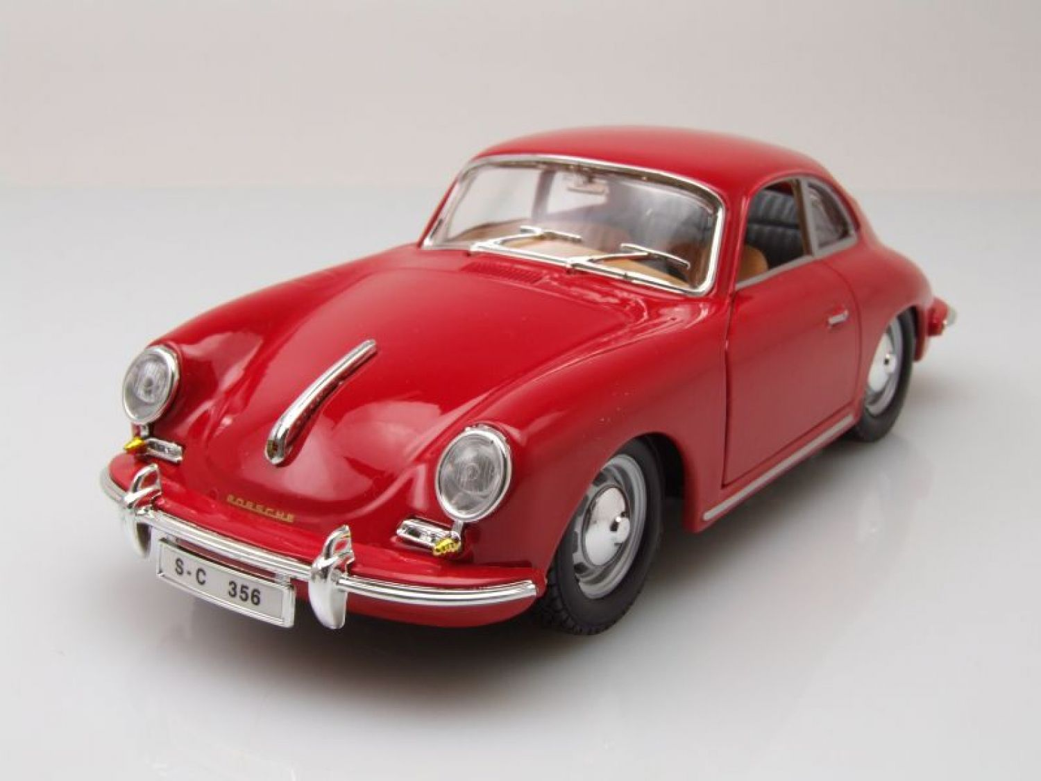 porsche 356 b coupe 1961 rot modellauto 1 24 burago ebay. Black Bedroom Furniture Sets. Home Design Ideas