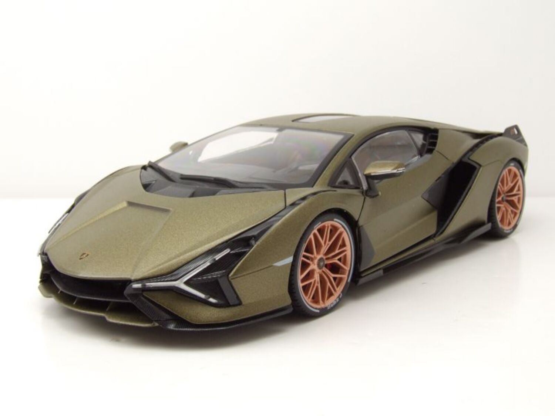 Lamborghini Sian Fkp 37 Año 2020 Mate Verde Oliva 1:18 Bburago