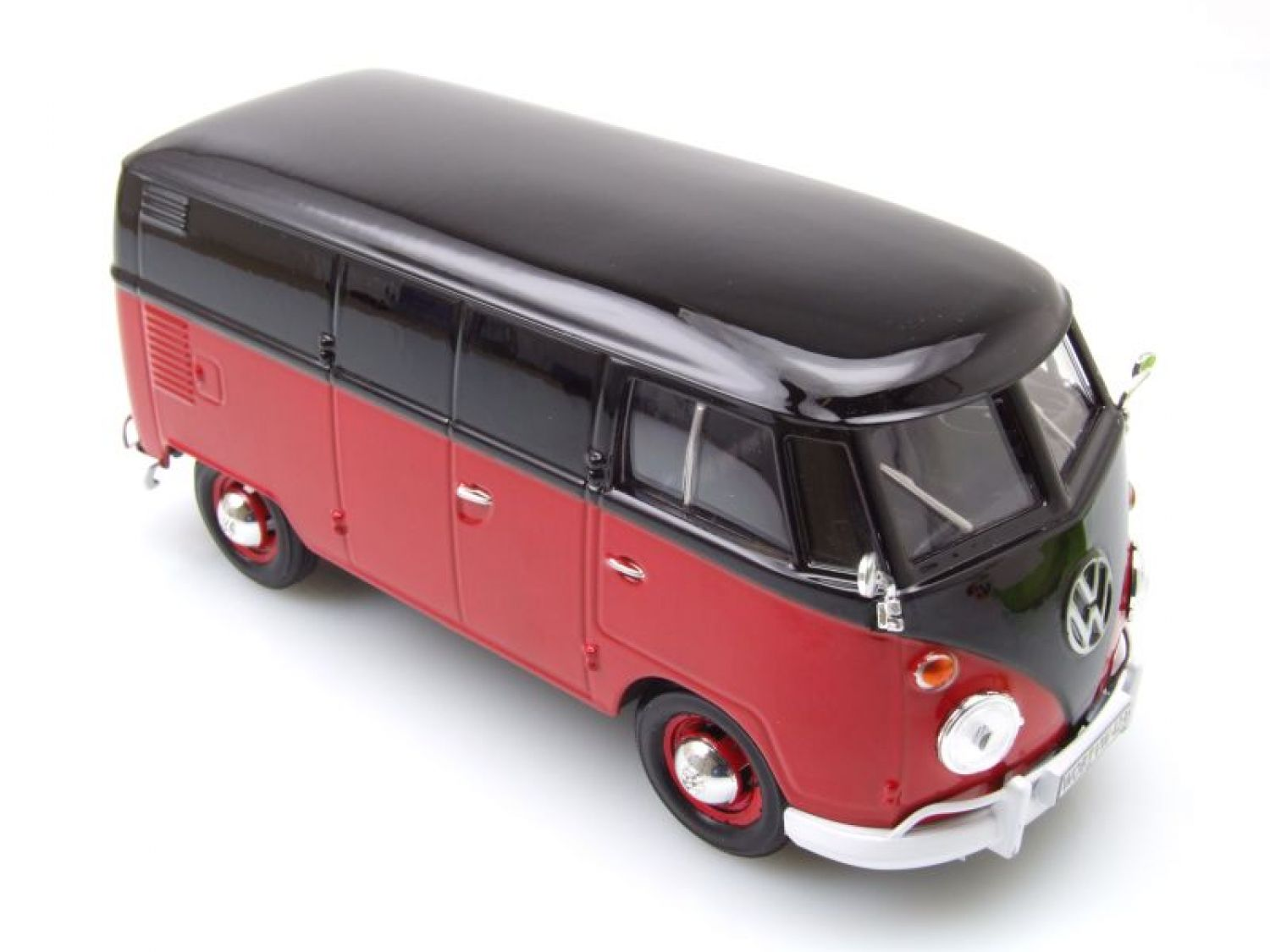 vw t1 bus kastenwagen rot schwarz modellauto 1 24. Black Bedroom Furniture Sets. Home Design Ideas