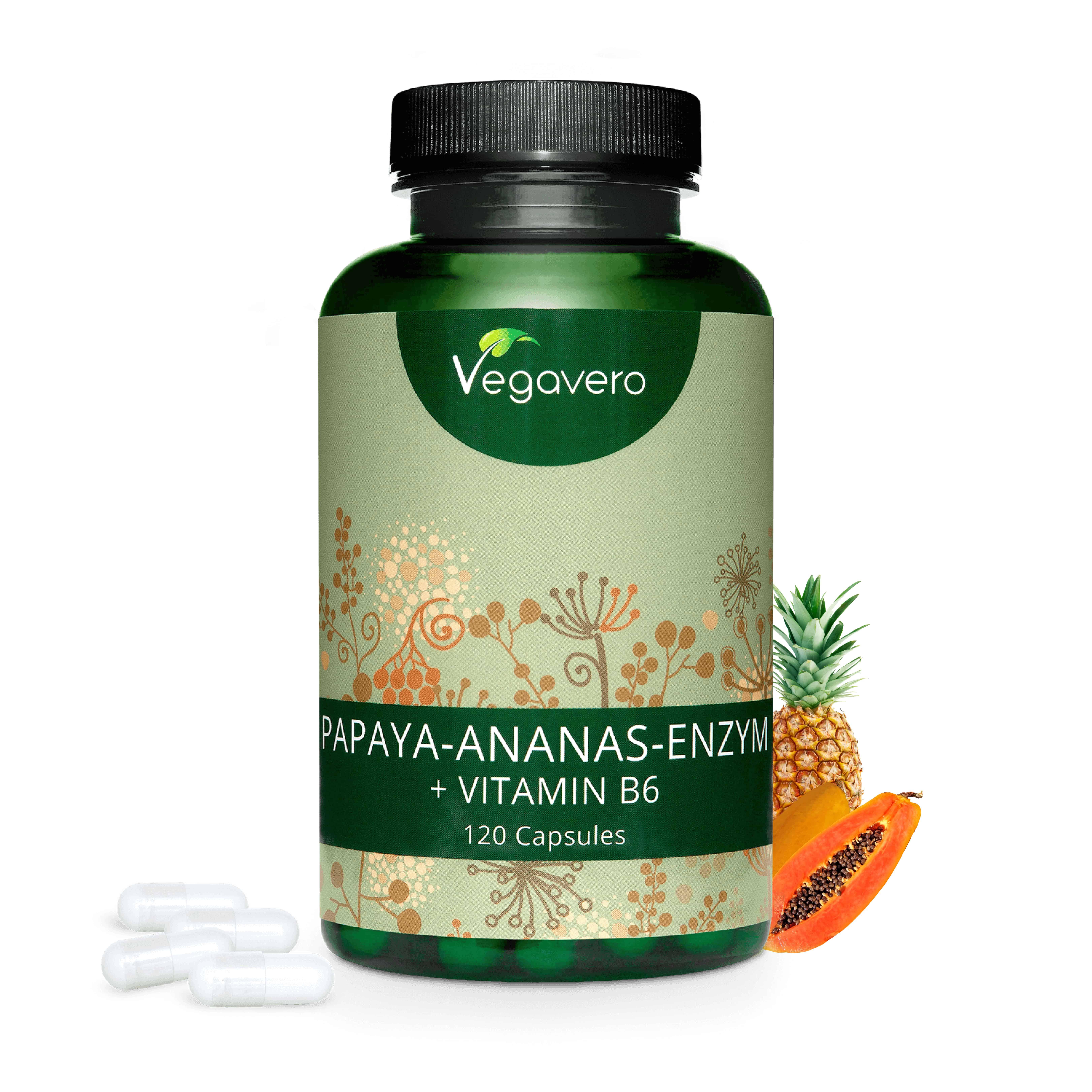 VEGAVERO® Papaya-Ananas-Enzym , 120 Kapseln (240,59 EUR/KG)