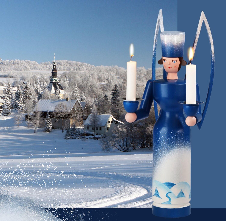 Seiffen vom Fachhändler Schalling Jahresengel 2019 Lichterengel blau//weiß 29cm