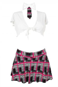 d630cfa7e Detalles de Colegiala Traje Minifalda Sexy + Blusa + Corbata Cuadro Blanco  Rosa S M L XL