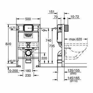 Grohe Rapida Sl Cisterna 38526 Per Wc Muro Bh 82 Cm Elemento Da