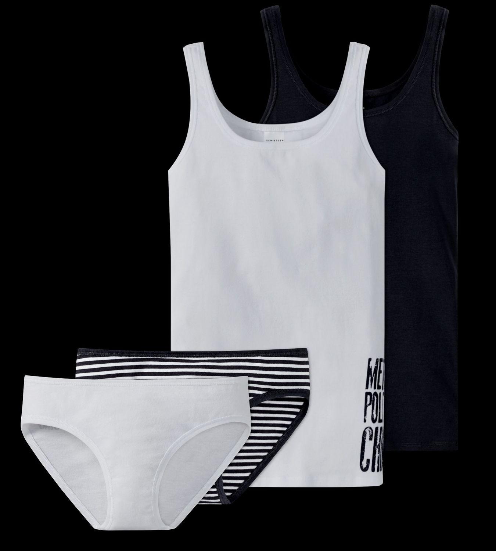 2426a4fbb8 Schiesser Mädchen Teens - großes 4 teiliges Unterwäsche Set Unterhemd +  Slip aus der Serie Metropolitan