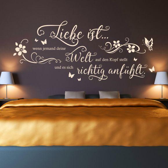 wandtattoo spruch liebe ist wenn jemand deine welt auf zitat schlafzimmer ebay. Black Bedroom Furniture Sets. Home Design Ideas