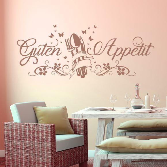 Details zu Wandtattoo Guten Appetit mit Schmetterlingen | Essen Küche  Esszimmer Spruch Deko