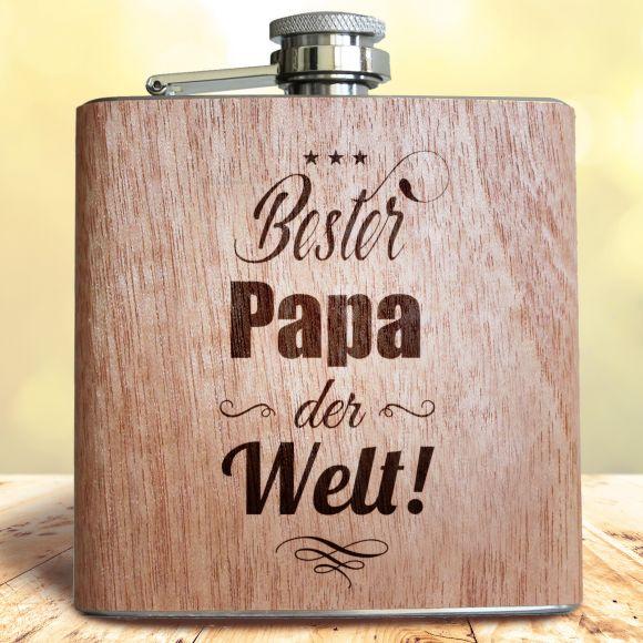Geschenk Idee Vater Geburtstag Vatertag Gravur Pixelstudio Flachmann