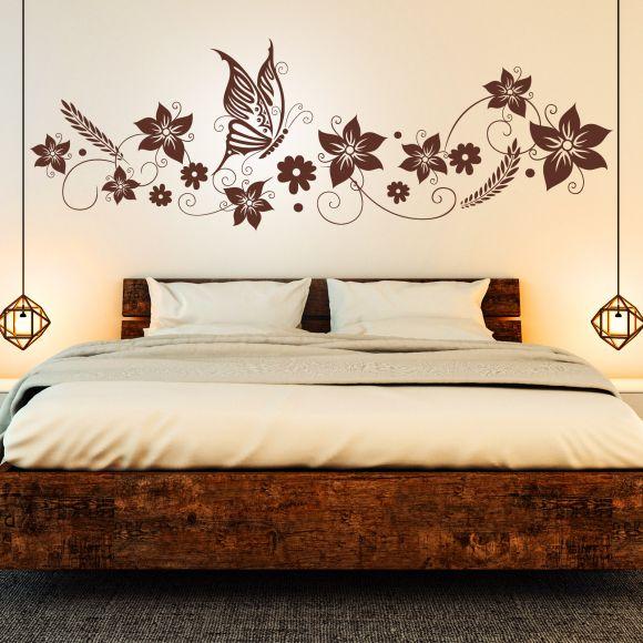 Wandtattoo Blumen Ranke Schmetterlinge Floral Schlafzimmer Deko