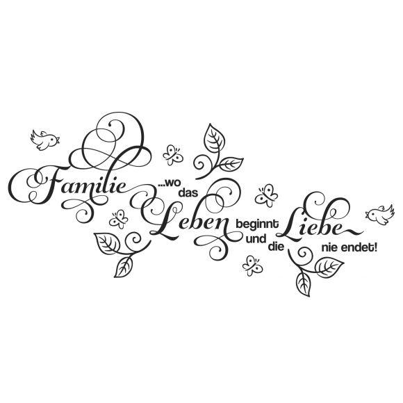 Wandtattoo Familie Wo Das Leben Beginnt Und Die Liebe Spruch
