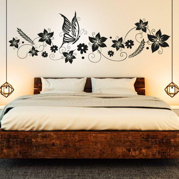 Wandtattoo Blumen Ranke Schmetterlinge Floral Schlafzimmer Deko Idee Bild Ebay