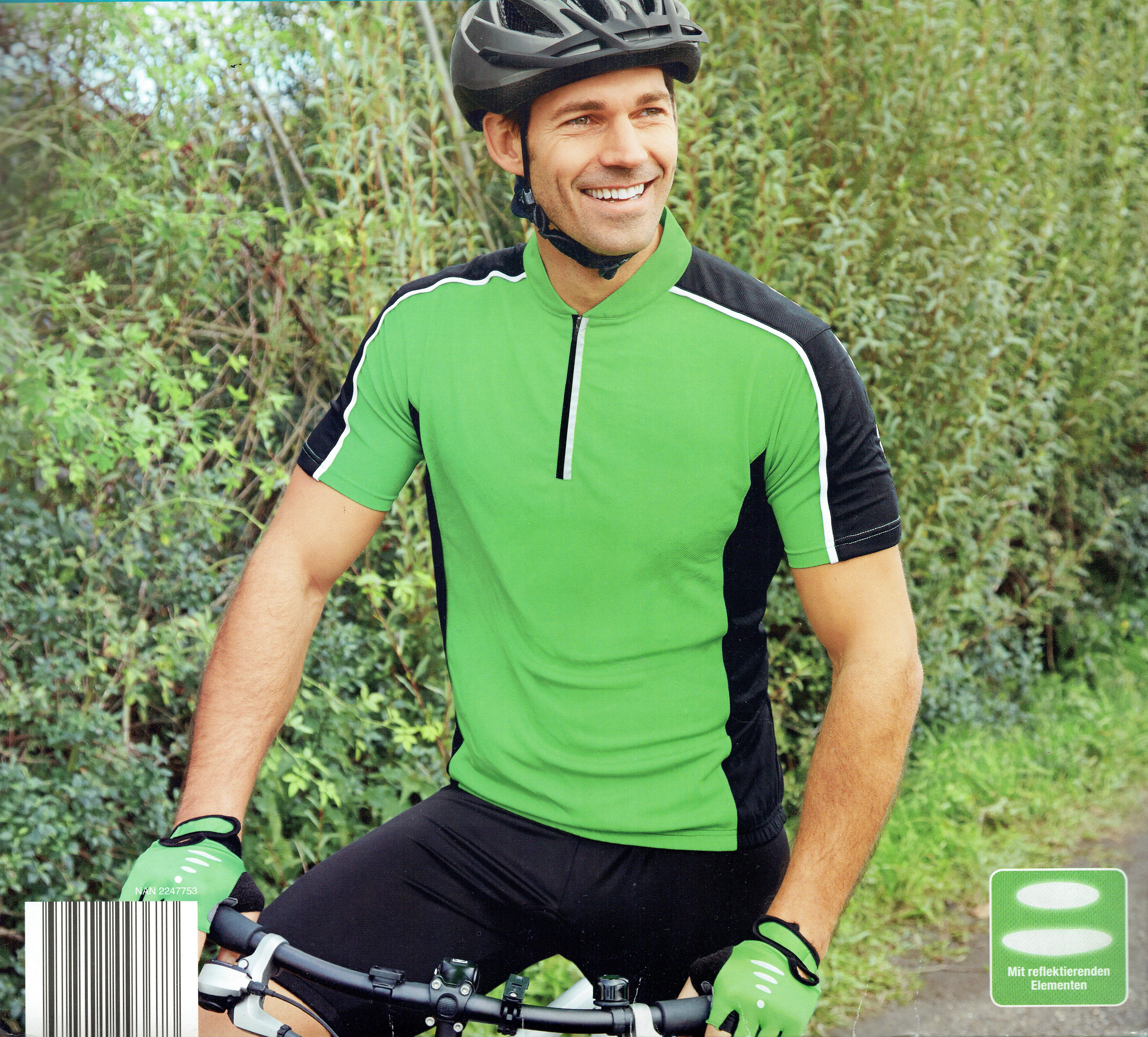 Herren-Fahrradshirt-Sport-Freizeit-reflektierende-Elemente-Reissverschluss-OkoTex Indexbild 3