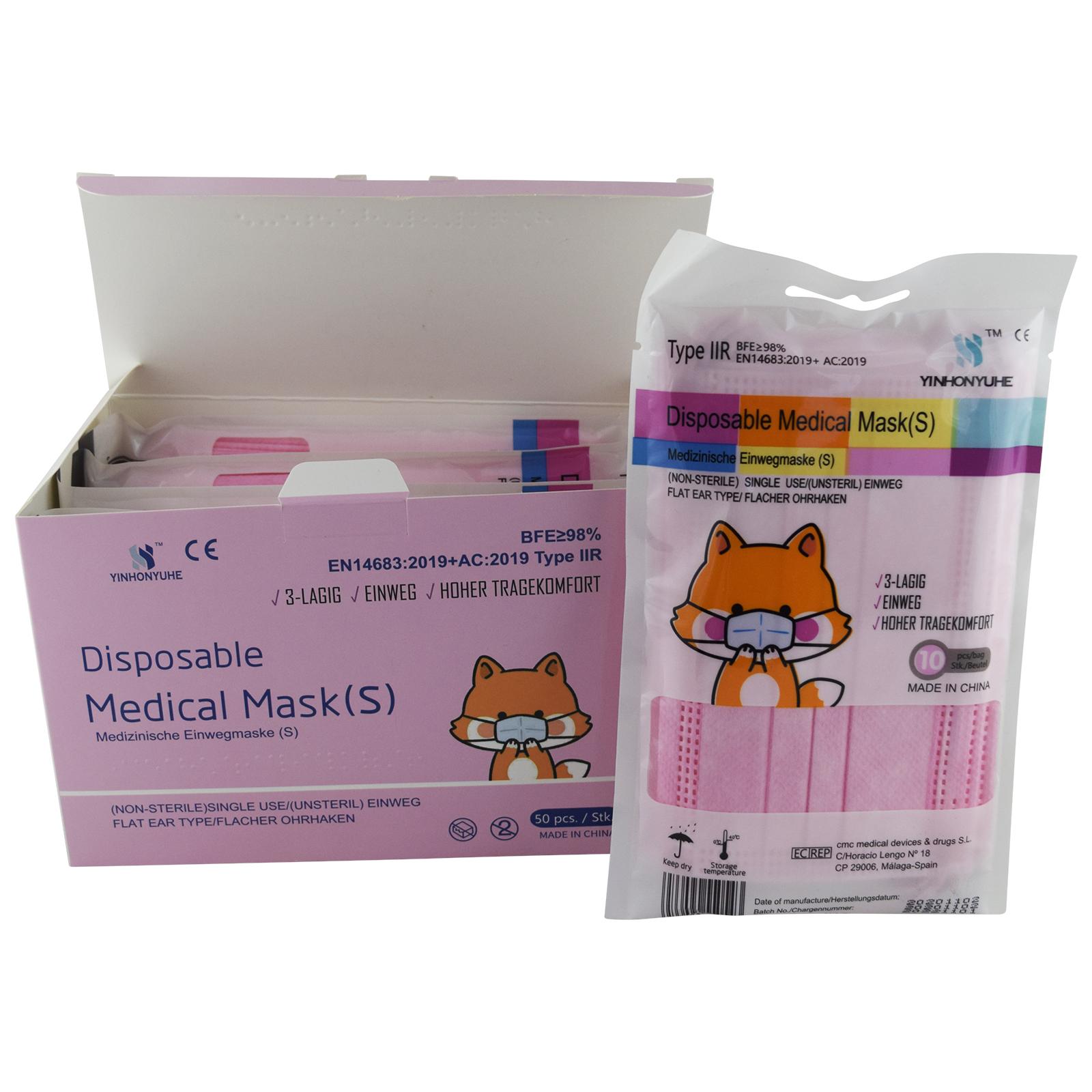 Indexbild 18 - 50 Kindermasken medizinisch oder Mund-Nasen-Bedeckung Mundschutz Einweg 3 Lagig