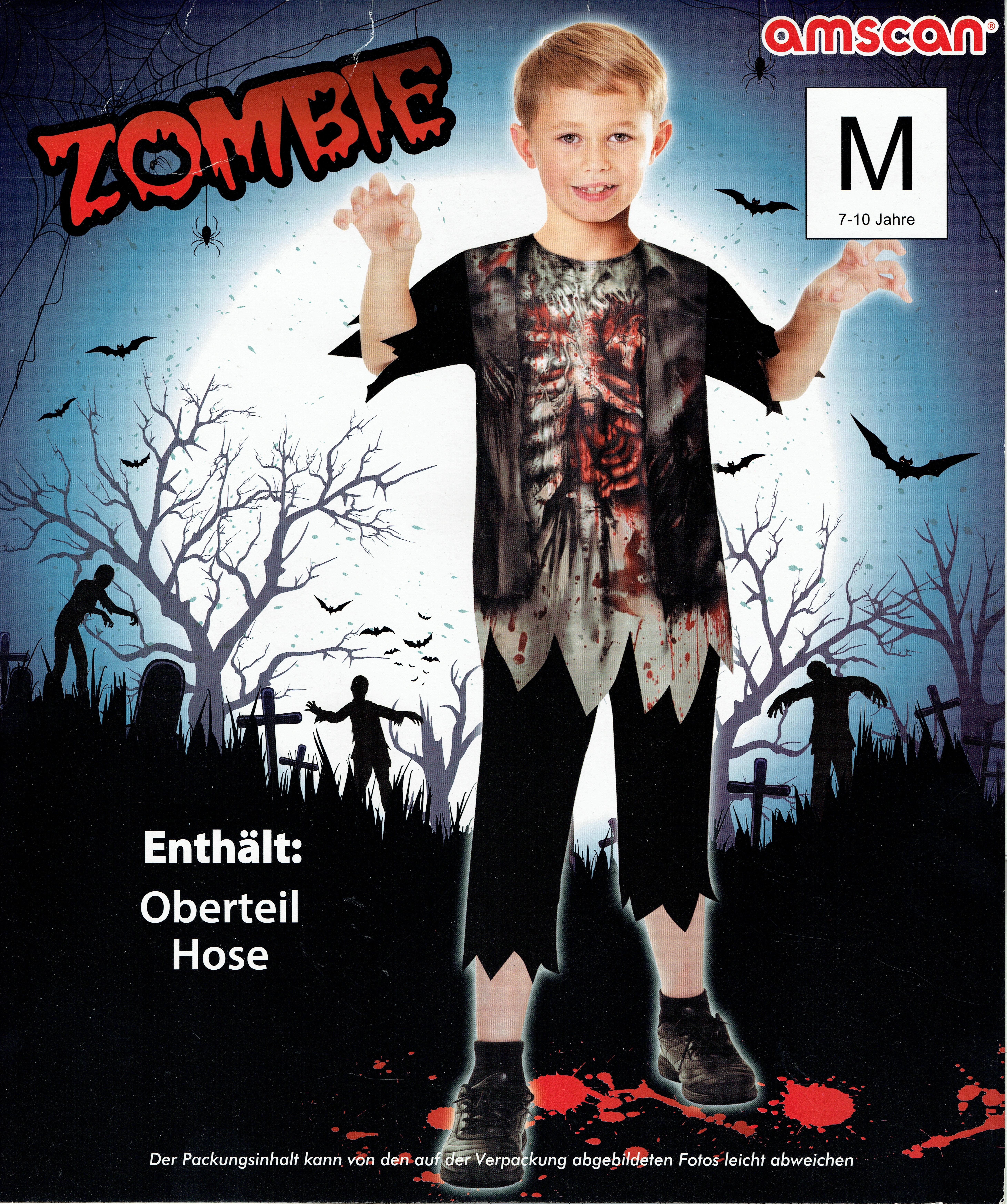 Indexbild 10 - Zombie Untoter Skelett Junge Mädchen Kostüm Halloween Karneval Day of the Dead