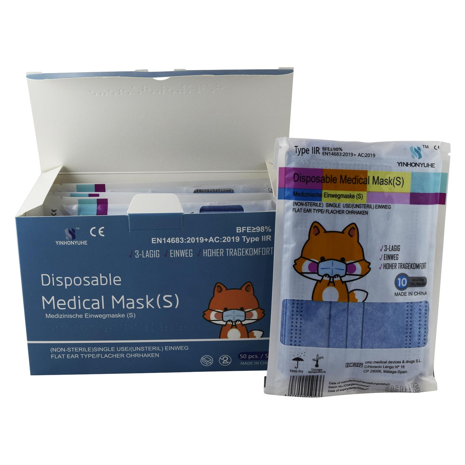 Indexbild 3 - 50 Kindermasken medizinisch oder Mund-Nasen-Bedeckung Mundschutz Einweg 3 Lagig