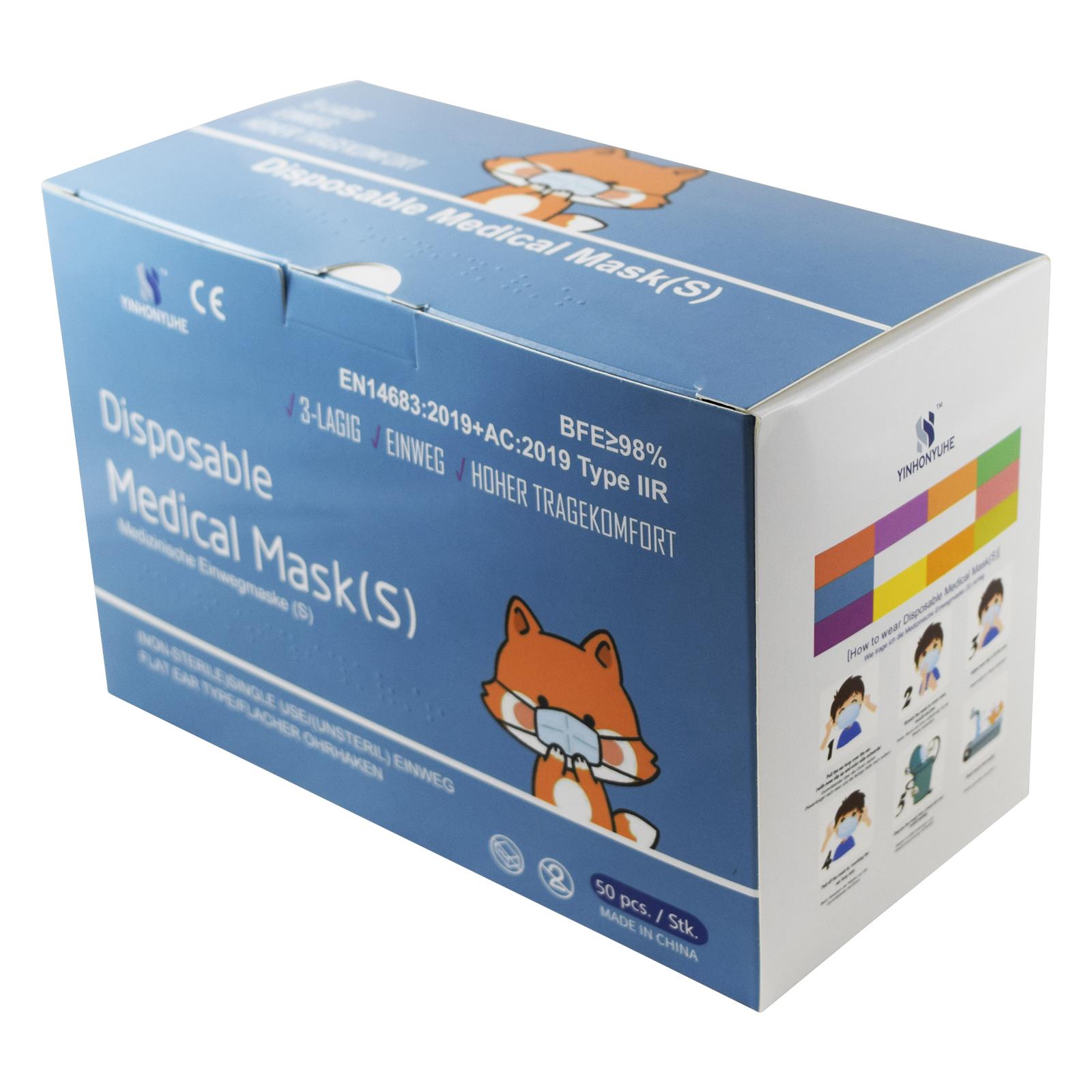 Indexbild 4 - 50 Kindermasken medizinisch oder Mund-Nasen-Bedeckung Mundschutz Einweg 3 Lagig