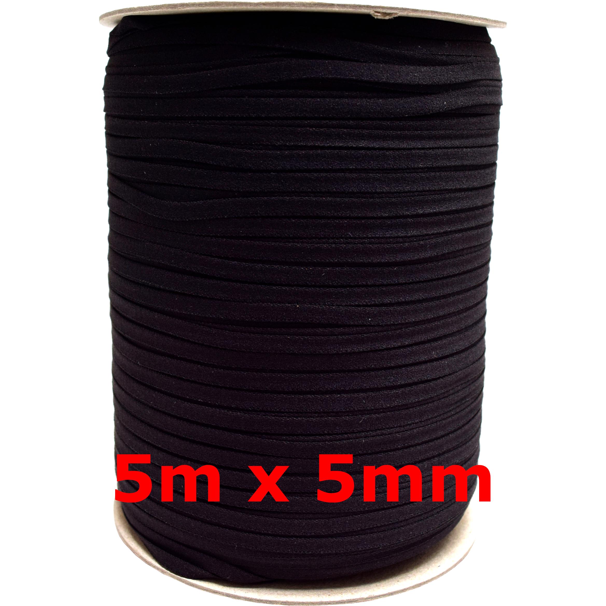 5m-x-3mm-5mm-6mm-Gummiband-kochfest-leichter-Zug-Gummilitze-schwarz-weiss-Maske Indexbild 7