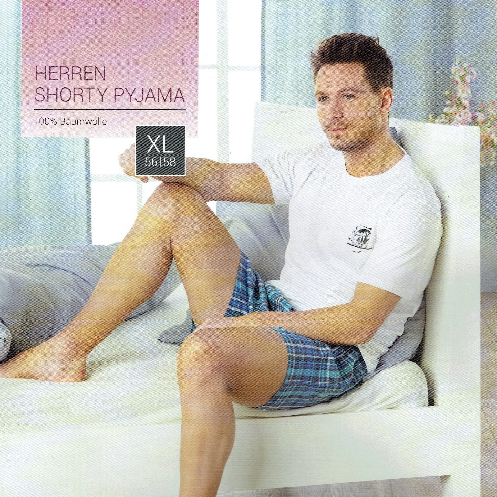 Herren-Schlafhose-Schlafanzug-Pyjama-Shorty-100-Baumwolle-Nachtwaesche-gewebt Indexbild 20