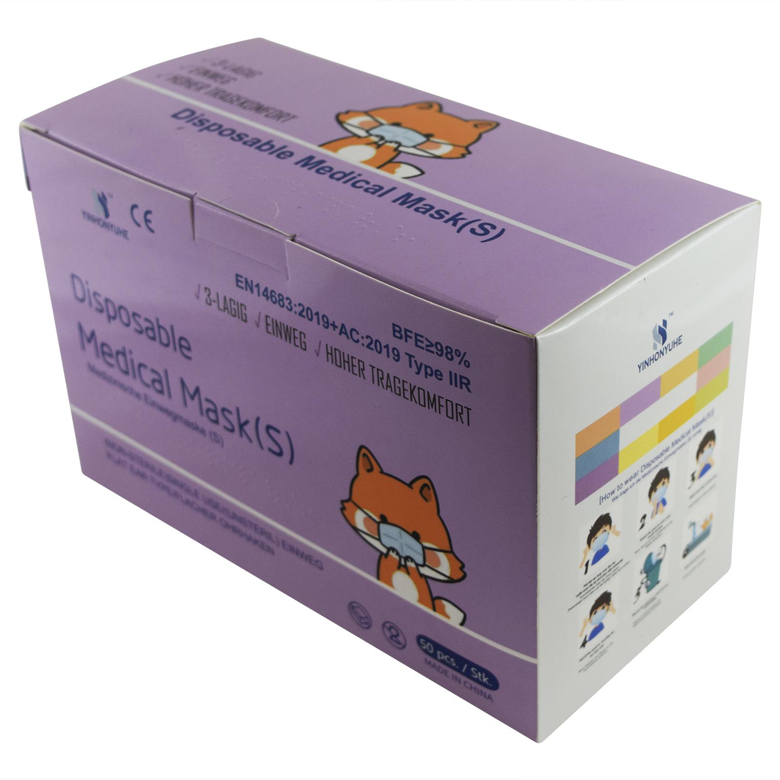 Indexbild 11 - 50 Kindermasken medizinisch oder Mund-Nasen-Bedeckung Mundschutz Einweg 3 Lagig
