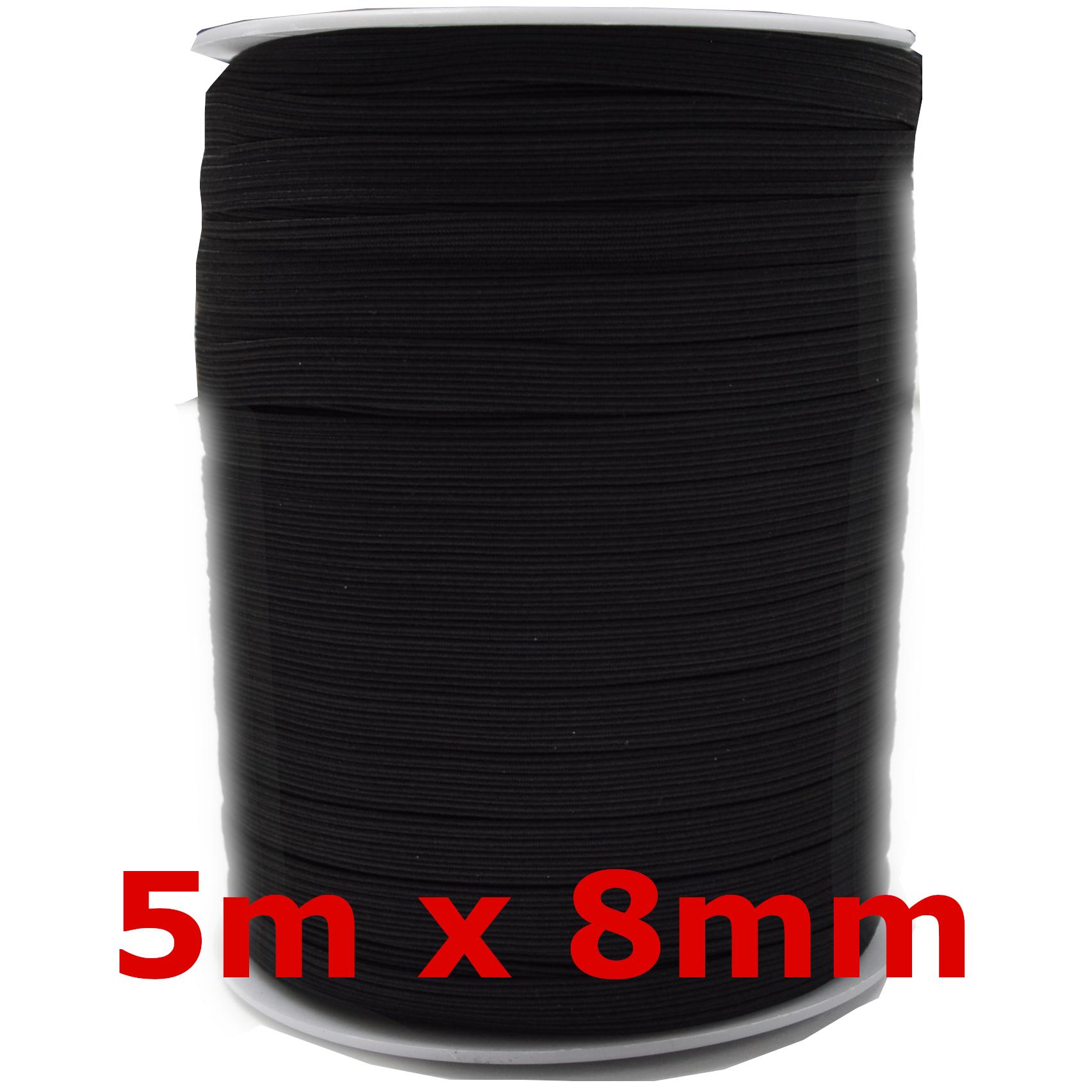 5m-x-3mm-5mm-6mm-Gummiband-kochfest-leichter-Zug-Gummilitze-schwarz-weiss-Maske Indexbild 13