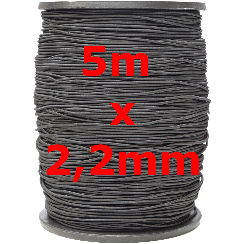 5m-x-3mm-5mm-6mm-Gummiband-kochfest-leichter-Zug-Gummilitze-schwarz-weiss-Maske Indexbild 2