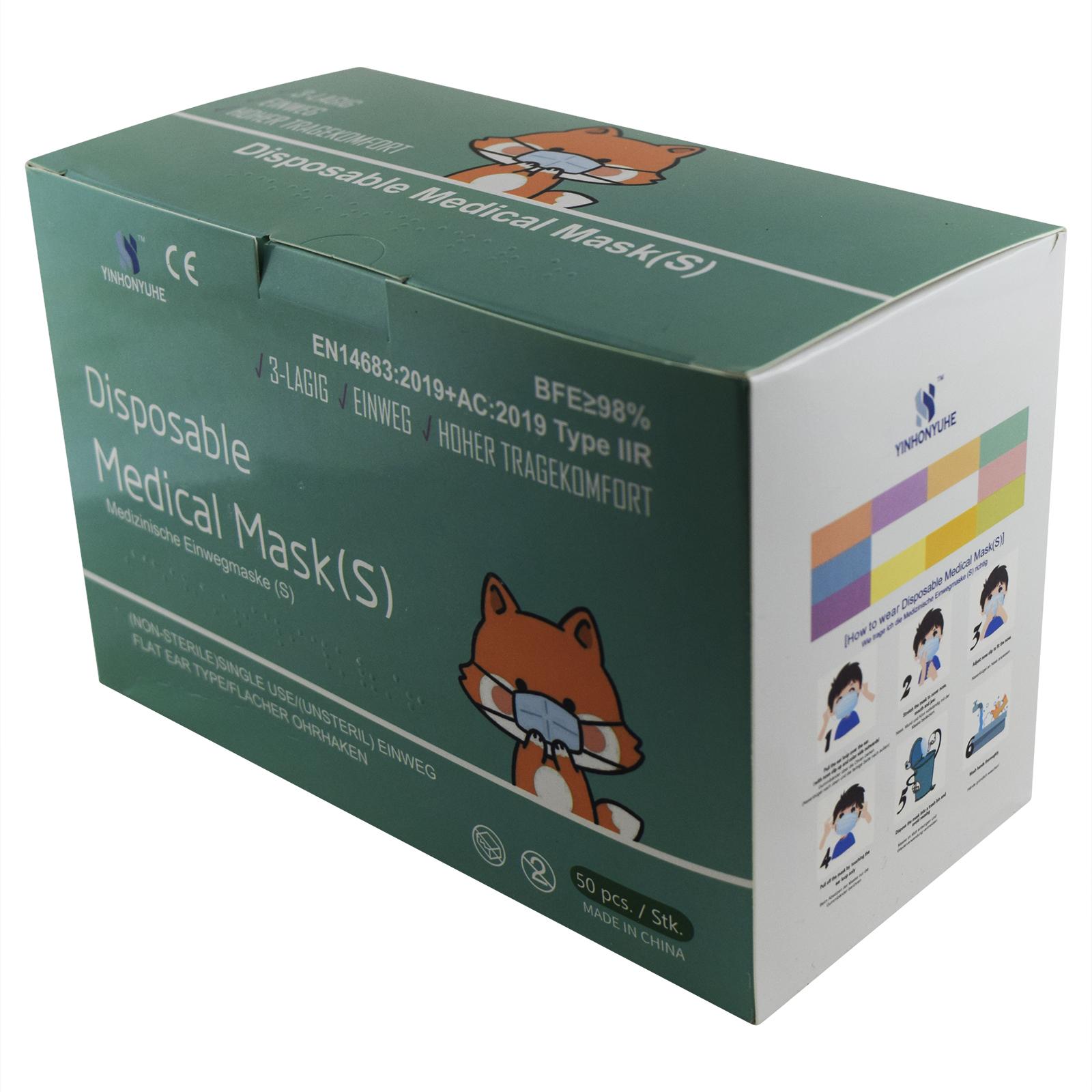Indexbild 7 - 50 Kindermasken medizinisch oder Mund-Nasen-Bedeckung Mundschutz Einweg 3 Lagig