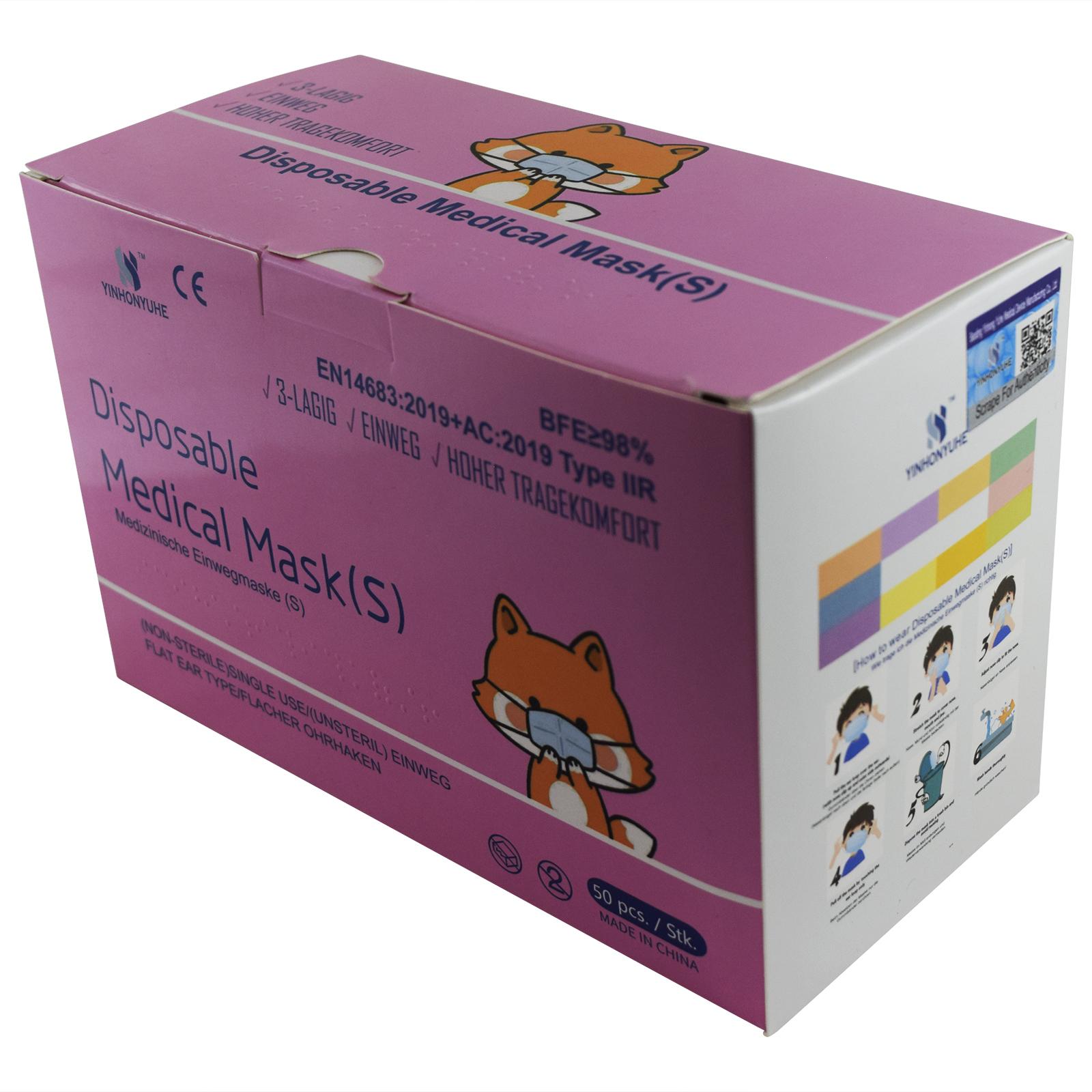 Indexbild 23 - 50 Kindermasken medizinisch oder Mund-Nasen-Bedeckung Mundschutz Einweg 3 Lagig