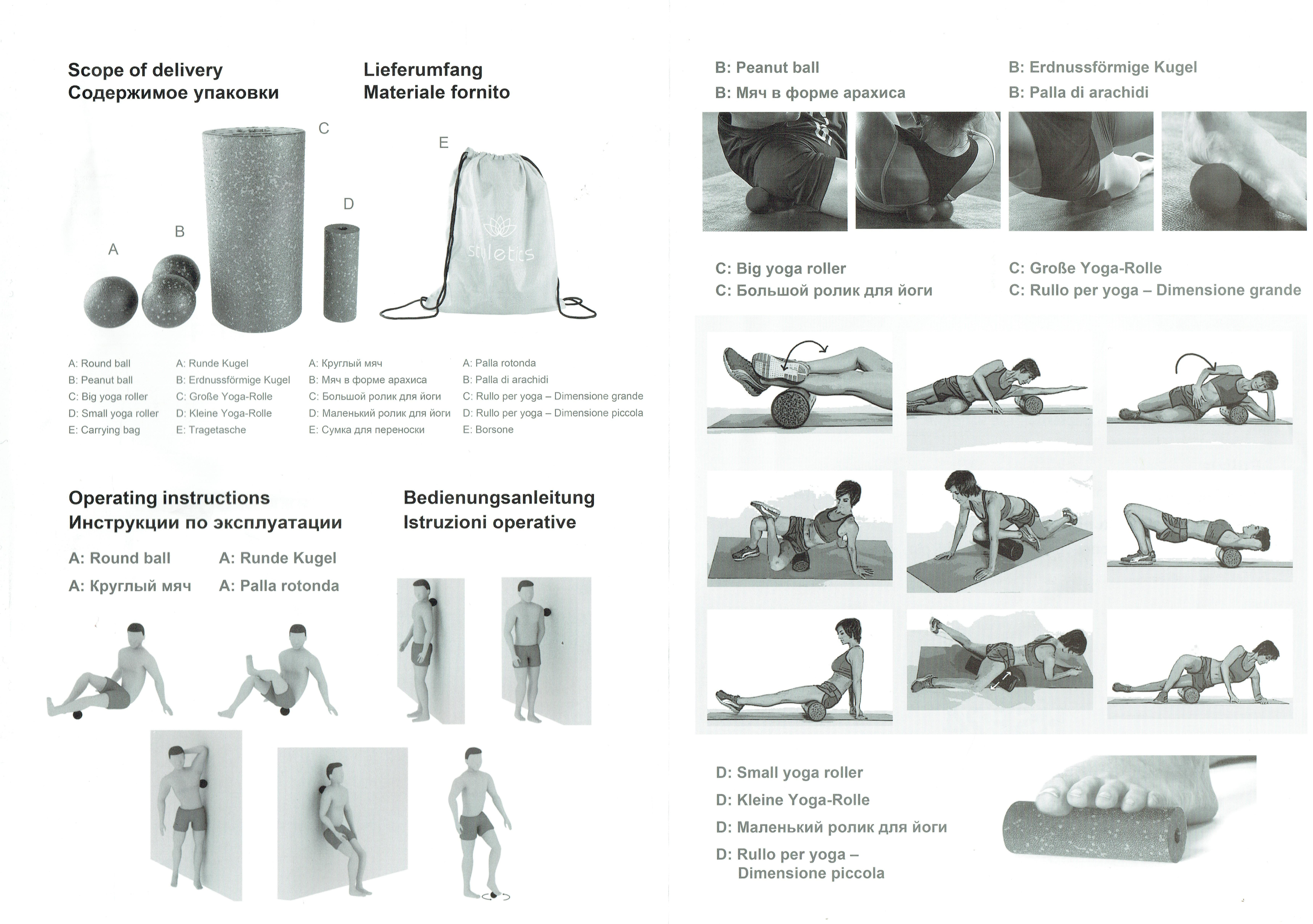 Faszienset-Faszienrolle-Faszienkugel-Massagerolle-Yoga-Physio-Muskelentspannung Indexbild 13
