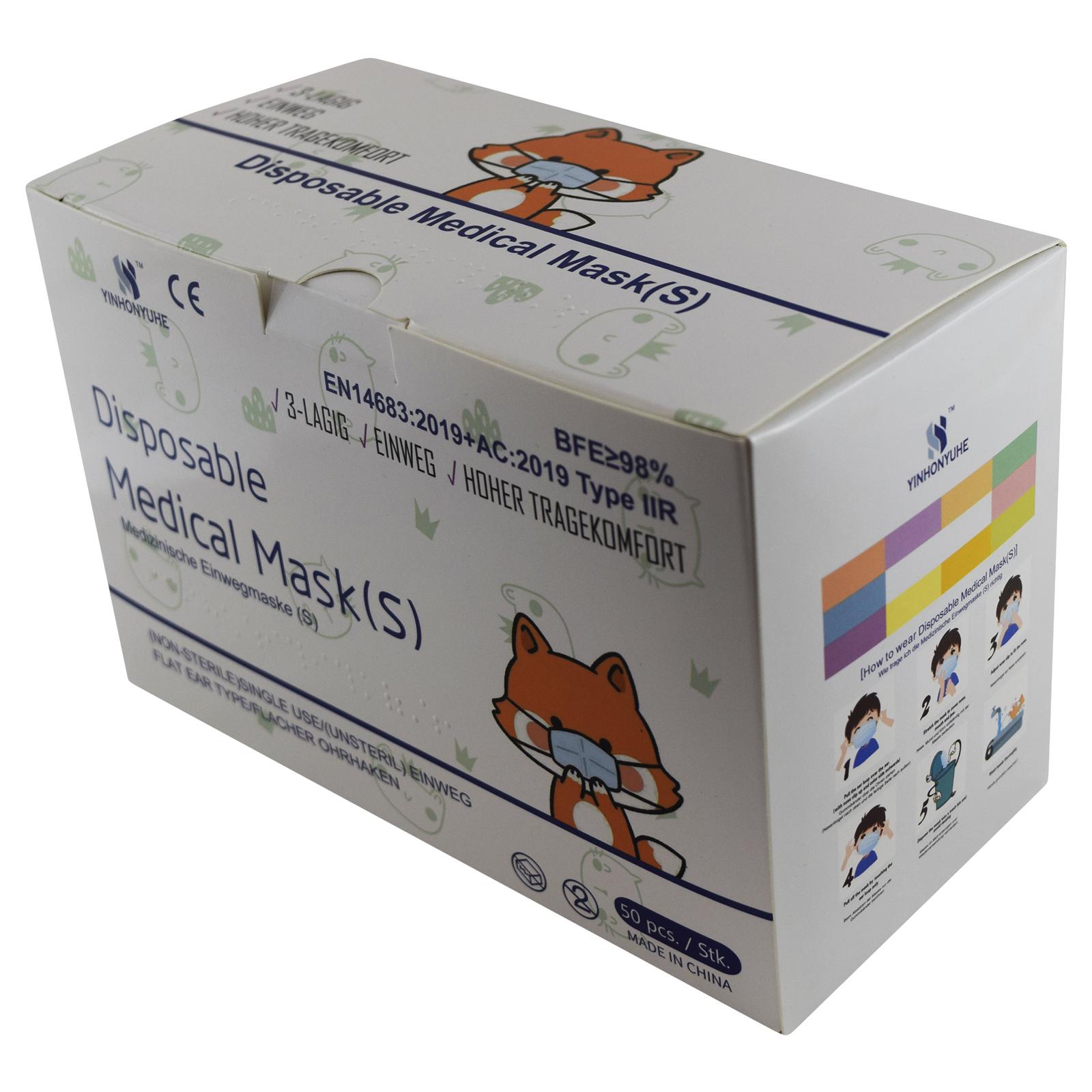 Indexbild 15 - 50 Kindermasken medizinisch oder Mund-Nasen-Bedeckung Mundschutz Einweg 3 Lagig