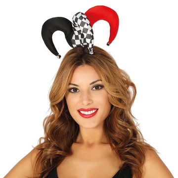 Mini Narrenkappe für Frauen Pierrot Kopfbedeckung  Harlekin Hut Kappe Hof-Narr